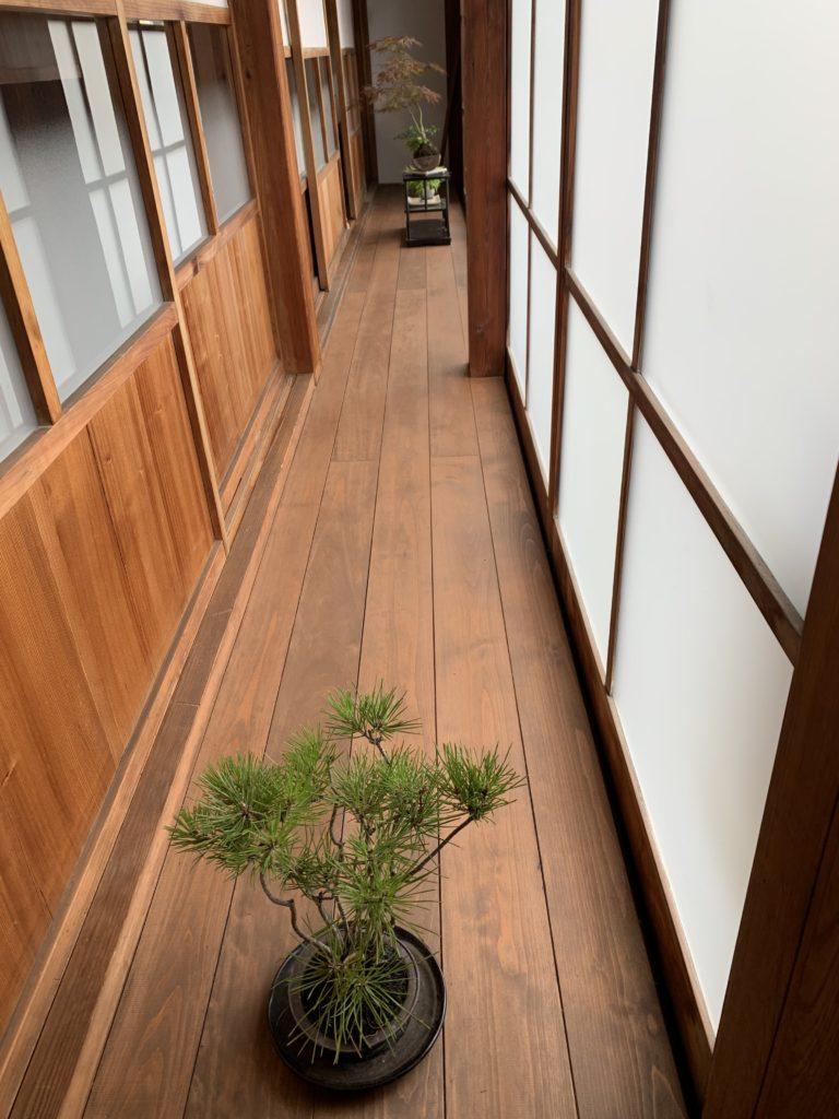 「町家盆栽Cafe コトノハ」の縁側