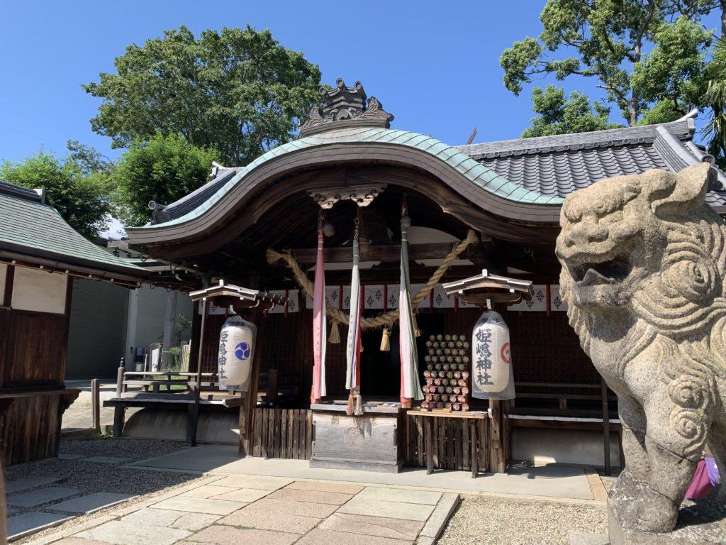 姫嶋神社の狛犬さんと本殿
